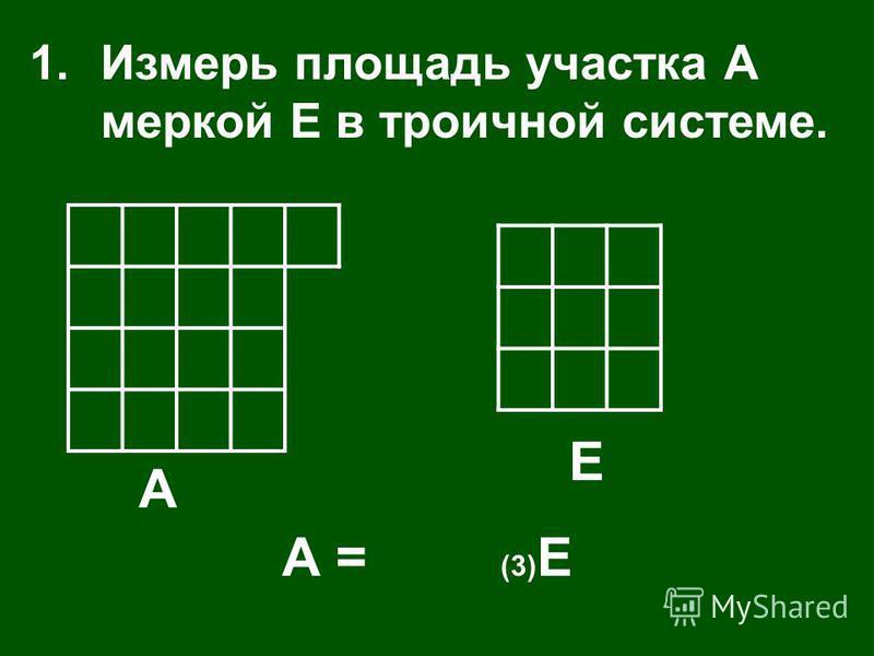 А Е 1. Измерь площадь участка А меркой Е в троичной системе. А = (3) Е