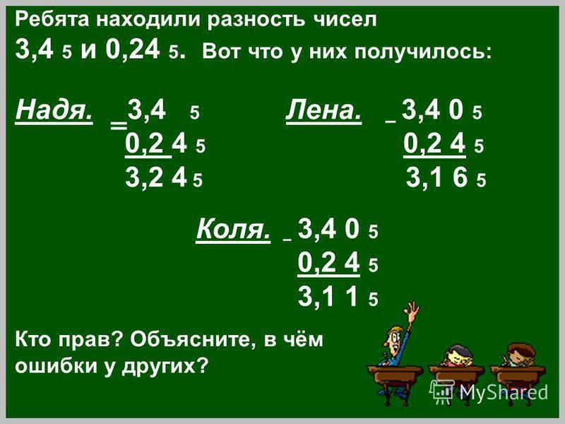 Ребята находили разность чисел 3,4 5 и 0,24 5. Вот что у них получилось: Надя. 3,4 5 Лена. – 3,4 0 5 0,2 4 5 0,2 4 5 3,2 4 5 3,1 6 5 Кто прав? Объясните, в чём ошибки у других? Коля. – 3,4 0 5 0,2 4 5 3,1 1 5