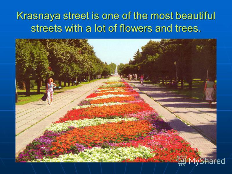 Krasnaya street is one of the most beautiful streets with a lot of flowers and trees.