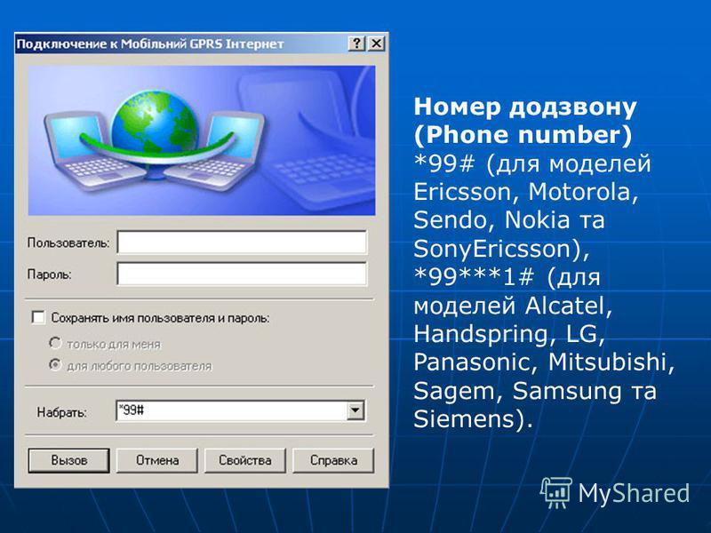 Номер додзвону (Phone number) *99# (для моделей Ericsson, Motorola, Sendo, Nokia та SonyEricsson), *99***1# (для моделей Alcatel, Handspring, LG, Panasonic, Mitsubishi, Sagem, Samsung та Siemens).