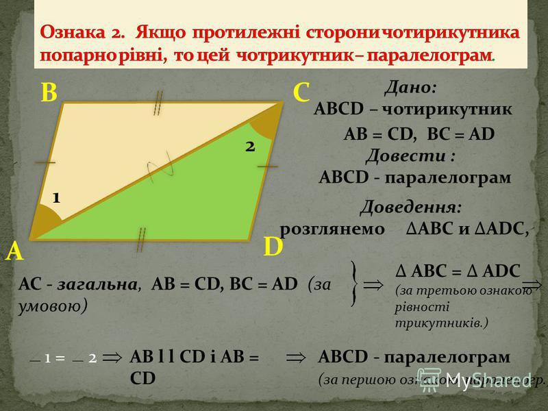 Довести: АВСD - паралелограм СВ D A 2 1 4 3 Дано: АВСD – чотирикутник AB l l CD, AB = CD Доведення: розглянемо АВС і ADC, 1 = 2 (як внутрішні різносторонні ) АВС = ADC (перша ознака рівності трикутників.) 3 = 4BC l l ADАВСD - параллелограмм AC - зага