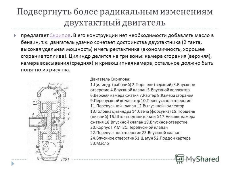 Подвергнуть более радикальным изменениям двухтактный двигатель предлагает Скрипов. В его конструкции нет необходимости добавлять масло в бензин, т. к. двигатель удачно сочетает достоинства двухтактника (2 такта, высокая удельная мощность ) и четырехт
