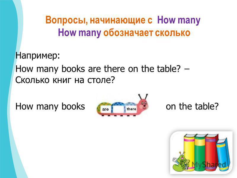 Вопросы, начинающие с How many How many обозначает сколько Например: How many books are there on the table? – Сколько книг на столе? How many books on the table?