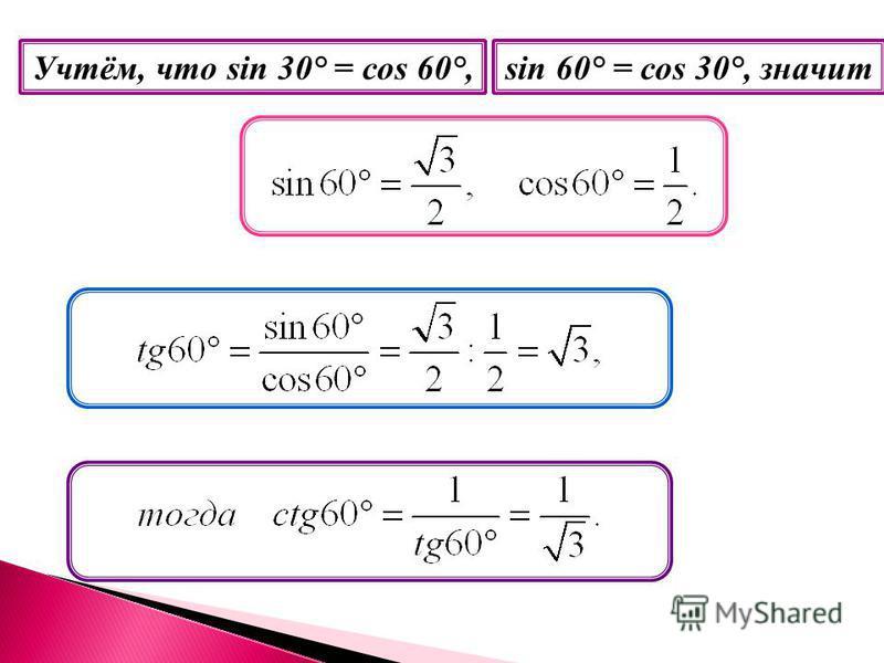 Учтём, что sin 30° = cos 60°,sin 60° = cos 30°, значит