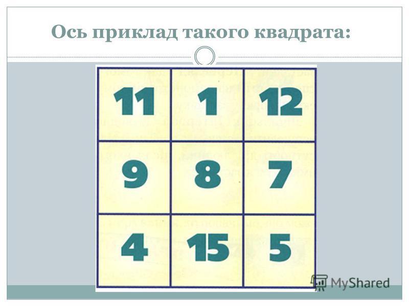 Ось приклад такого квадрата:
