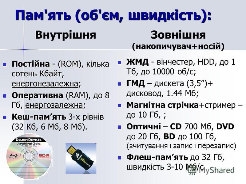 Пам'ять (об'єм, швидкість): Постійна - (ROM), кілька сотень Кбайт, енергонезалежна; Постійна - (ROM), кілька сотень Кбайт, енергонезалежна; Оперативна (RAM), до 8 Гб, енергозалежна; Оперативна (RAM), до 8 Гб, енергозалежна; Кеш-память Кеш-память 3-х