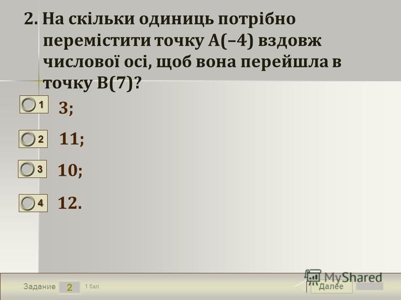 Далее 2 Задание 1 бал. 1111 2222 3333 4444 2. На скільки одиниць потрібно перемістити точку A(–4) вздовж числової осі, щоб вона перейшла в точку B(7)? 3; 11; 10; 12.