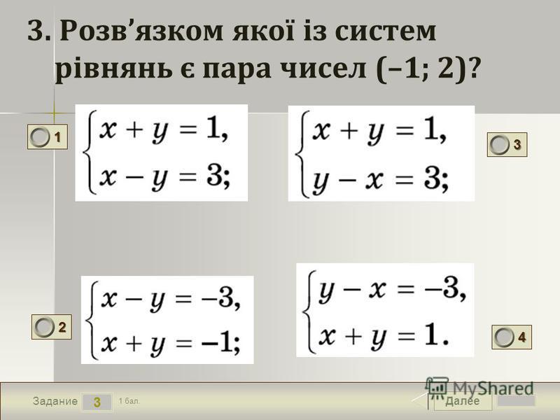 Далее 3 Задание 1 бал. 1111 2222 3333 4444 3. Розвязком якої із систем рівнянь є пара чисел (–1; 2)?