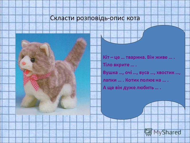 Скласти розповідь-опис кота Кіт – це … тварина. Він живе …. Тіло вкрите …. Вушка …, очі …, вуса …, хвостик …, лапки …. Котик полює на …. А ще він дуже любить ….