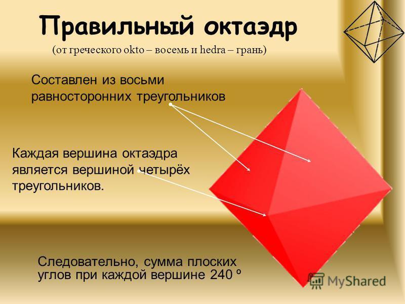 Правильный октаэдр Следовательно, сумма плоских углов при каждой вершине 240 º (от греческого okto – восемь и hedra – грань) Составлен из восьми равносторонних треугольников Каждая вершина октаэдра является вершиной четырёх треугольников.