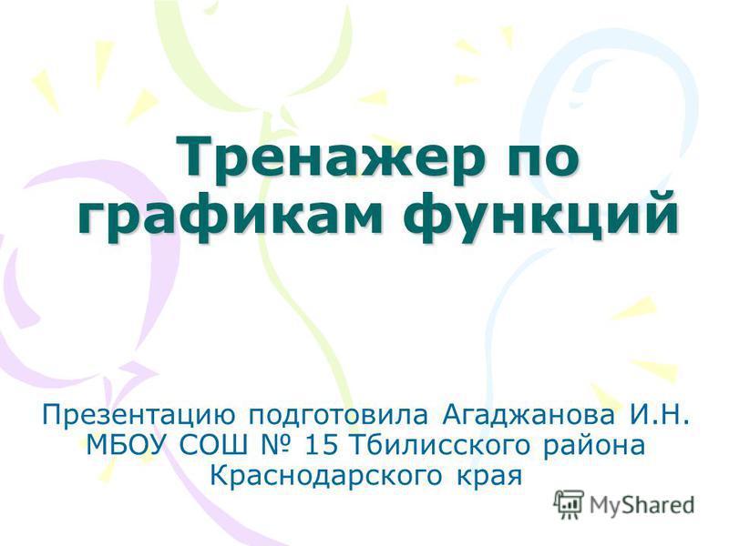 Тренажер по графикам функциий Презентацию подготовила Агаджанова И.Н. МБОУ СОШ 15 Тбилисского района Краснодарского края