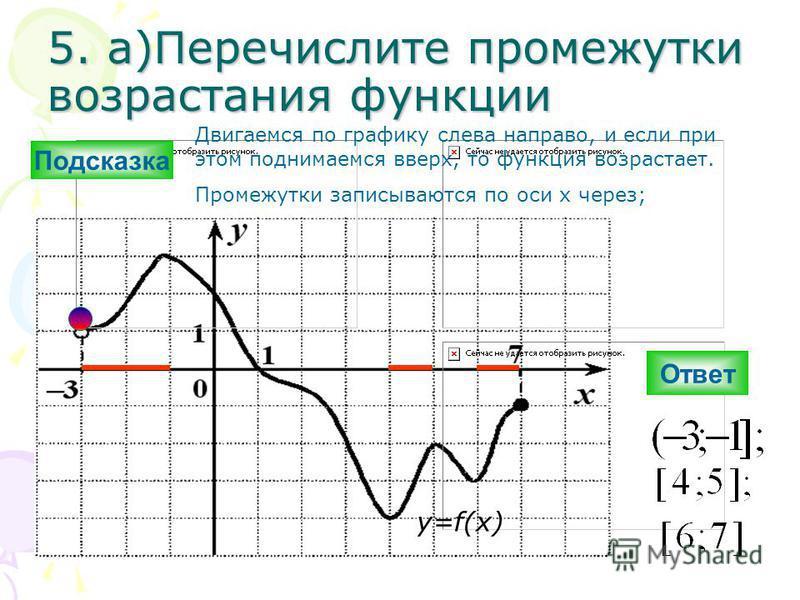 5. а)Перечислите промежутки возрастания функциии Ответ y=f(x) Подсказка Двигаемся по графику слева направо, и если при этом поднимаемся вверх, то функциия возрастает. Промежутки записываются по оси х через;