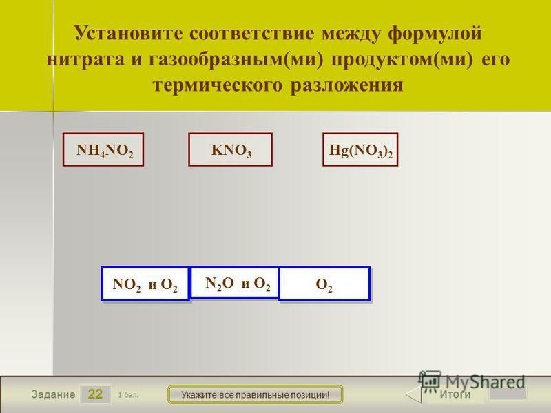 23 NH 4 NO 2 KNO 3 Hg(NO 3 ) 2 22 Задание Укажите все правильные позиции! Установите соответствие между формулой нитрата и газообразным(ми) продуктом(ми) его термического разложения Итоги 1 бал. NO 2 и O 2 NO 2 и O 2 N 2 O и O 2 N 2 O и O 2 O2O2 O2O2