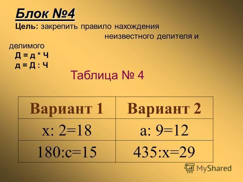 Блок 4 Цель: закрепить правило нахождения неизвестного делителя и делимого Д = д * Ч д = Д : Ч Вариант 1Вариант 2 x: 2=18a: 9=12 180:c=15435:x=29 Таблица 4