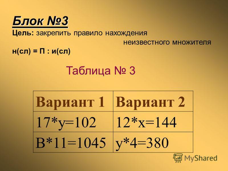 Блок 3 Цель: закрепить правило нахождения неизвестного множителя н(сл) = П : и(сл) Вариант 1Вариант 2 17*y=10212*x=144 B*11=1045y*4=380 Таблица 3