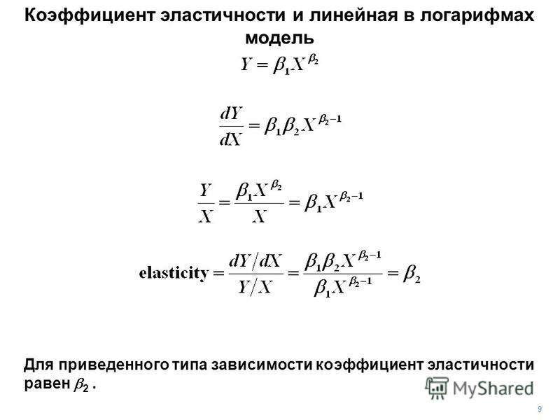 9 Коэффициент эластичности и линейная в логарифмах модель Для приведенного типа зависимости коэффициент эластичности равен 2.