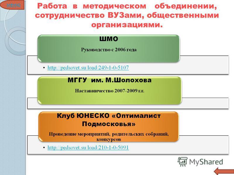 Работа в методическом объединении, сотрудничество ВУЗами, общественными организациями. меню