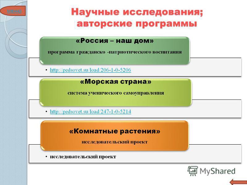 Научные исследования; авторские программы меню
