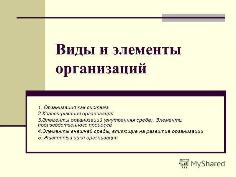Виды и элементы организаций 1. Организация как система 2. Классификация организаций 3. Элементы организаций (внутренняя среда), Элементы производственного процесса 4. Элементы внешней среды, влияющие на развитие организации 5. Жизненный цикл организа
