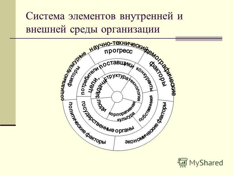 Система элементов внутренней и внешней среды организации