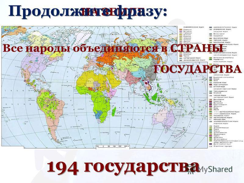НА ЗЕМЛЕ 194 государства Продолжите фразу: Все народы объединяются в …СТРАНЫ ГОСУДАРСТВА