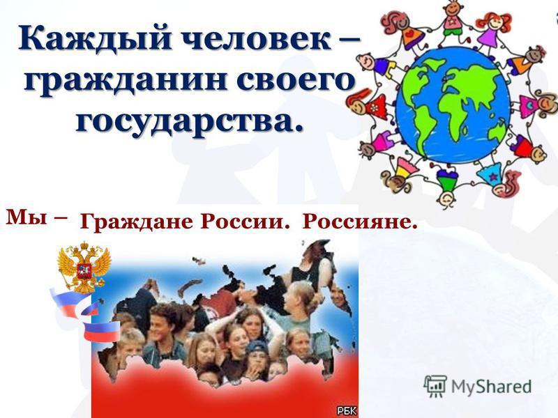 Каждый человек – гражданин своего государства. Мы – Граждане России.Россияне.