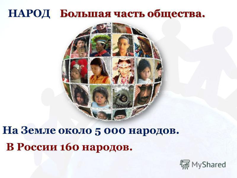 НАРОД Большая часть общества. На Земле около 5 000 народов. В России 160 народов.