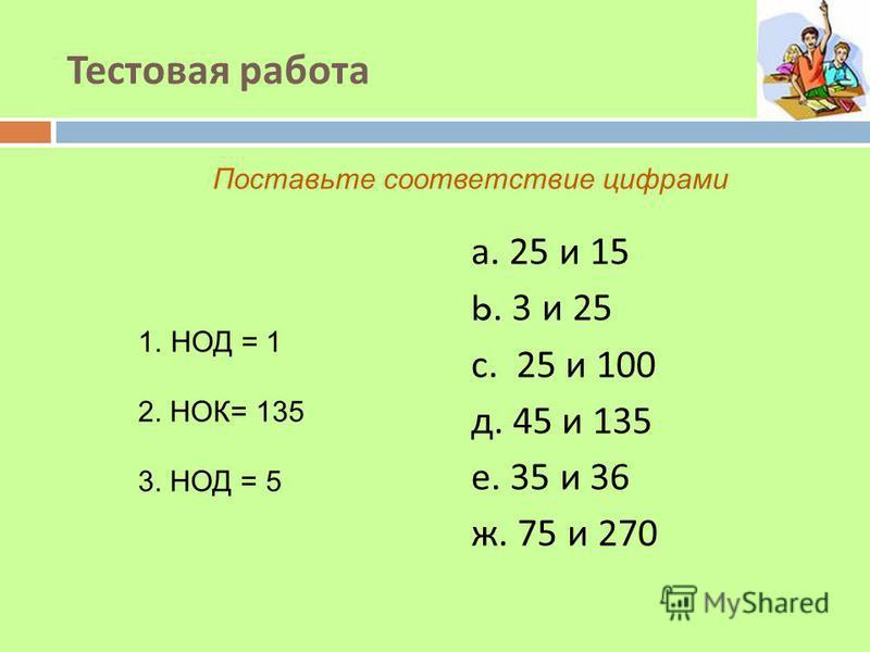 Тестовая работа а. 25 и 15 b. 3 и 25 с. 25 и 100 д. 45 и 135 е. 35 и 36 ж. 75 и 270 1. НОД = 1 2. НОК= 135 3. НОД = 5 Поставьте соответствие цифрами
