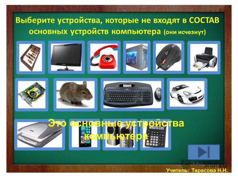 Выберите устройства, которые не входят в СОСТАВ основных устройств компьютера (они исчезнут) Учитель: Тарасова Н.Н. Это основные устройства компьютера
