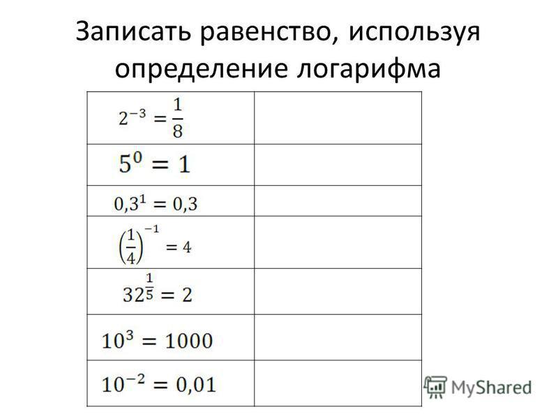 Записать равенство, используя определение логарифма