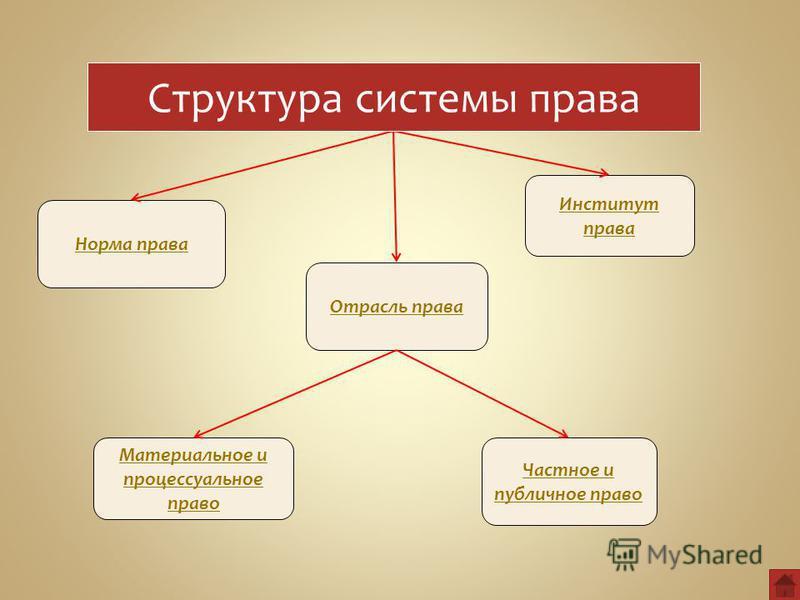 Норма права Отрасль права Институт права Материальное и процессуальное право Частное и публичное право Структура системы права