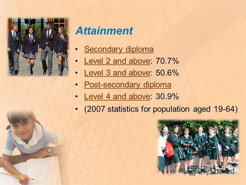 Attainment Secondary diploma Level 2 and above: 70.7%Level 2 and above Level 3 and above: 50.6%Level 3 and above Post-secondary diploma Level 4 and above: 30.9%Level 4 and above (2007 statistics for population aged 19-64)
