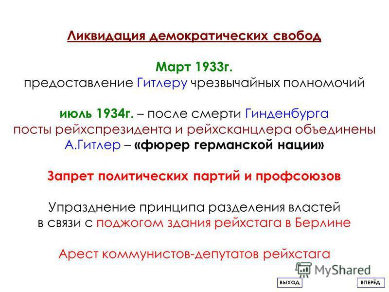 Ликвидация демократических свобод Март 1933 г. предоставление Гитлеру чрезвычайных полномочий июль 1934 г. – после смерти Гинденбурга посты рейс президента и рейхсканцлера объединены А.Гитлер – «фюрер германской нации» Запрет политических партий и пр