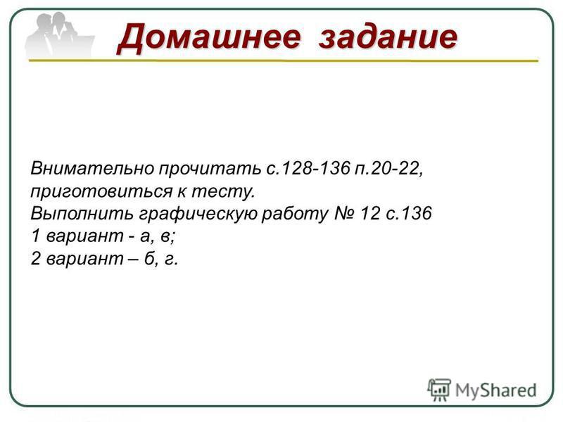 Домашнее задание Внимательно прочитать с.128-136 п.20-22, приготовиться к тесту. Выполнить графическую работу 12 с.136 1 вариант - а, в; 2 вариант – б, г.