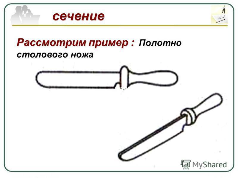 сечение Рассмотрим пример : Рассмотрим пример : Полотно столового ножа