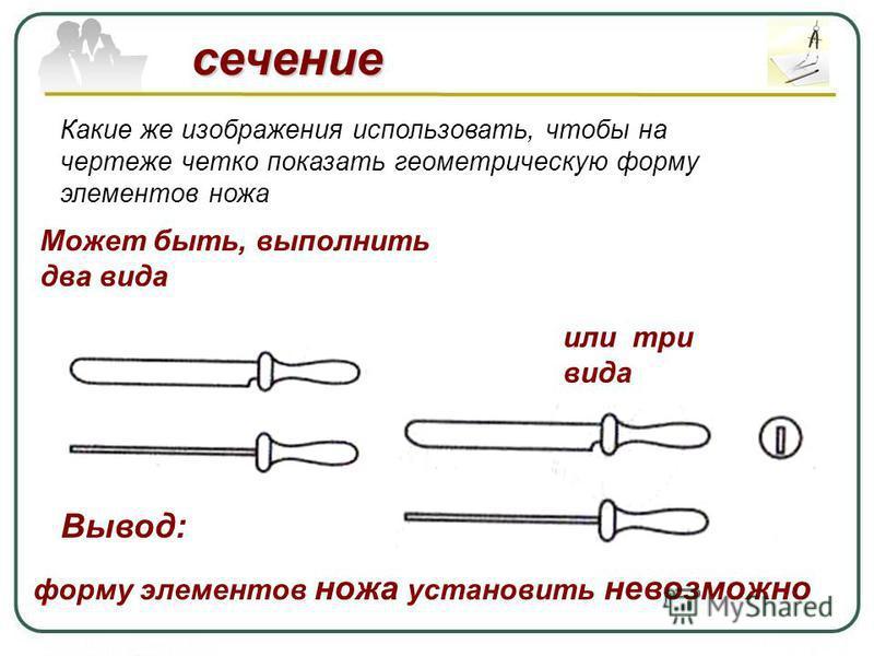 сечение Какие же изображения использовать, чтобы на чертеже четко показать геометрическую форму элементов ножа Может быть, выполнить два вида Вывод: форму элементов ножа установить невозможно или три вида