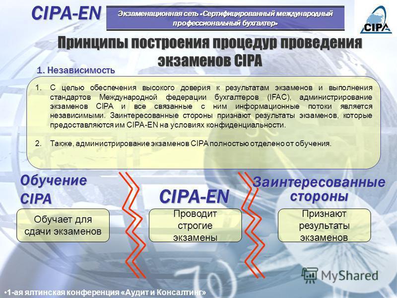 Основополагающие элементы экзаменов «высоких ставок» CIPA Международные экзамены «высоких ставок» CIPA Высококачественное содержание экзаменов Строгие процедуры 2. Подготовка и рецензирование экзаменов 3. Регистрация участников 1. Планирование экзаме