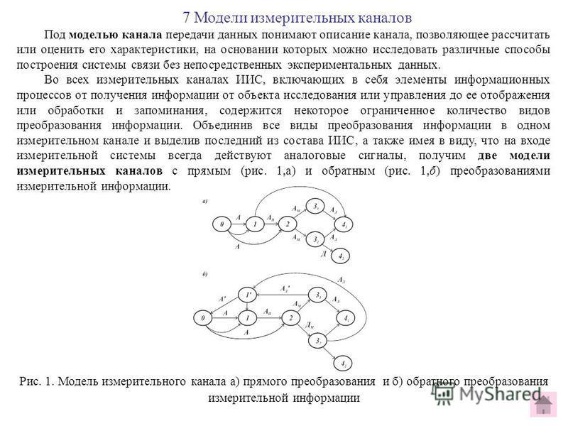 7 Модели измерительных каналов Под моделью канала передачи данных понимают описание канала, позволяющее рассчитать или оценить его характеристики, на основании которых можно исследовать различные способы построения системы связи без непосредственных