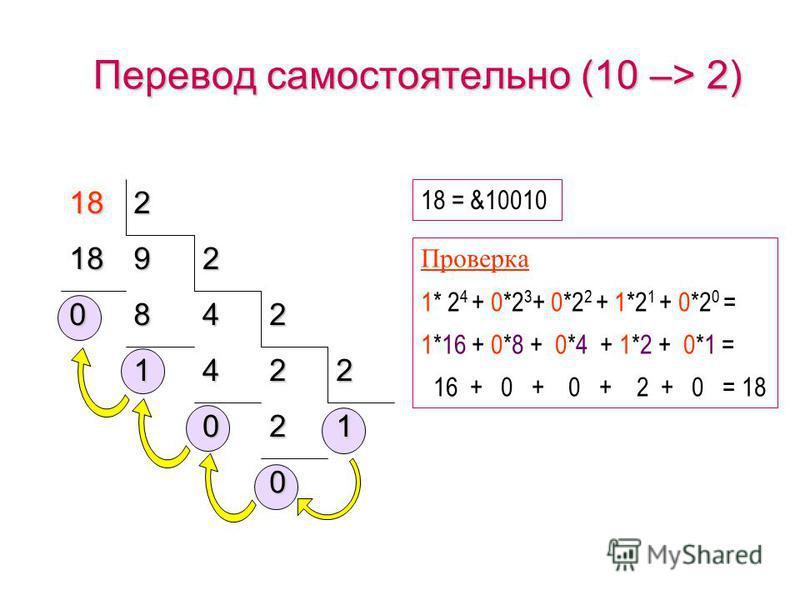 Перевод 10 –> 2 1 1224225 0 6122 0 362 1 122 25 = &11001 Проверка 1* 2 4 + 1*2 3 + 0*2 2 + 0*2 1 + 1*2 0 = 1*16 + 1*8 + 0*4 + 0*2 + 1*1 = 16 + 8 + 0 + 0 + 1 = 25