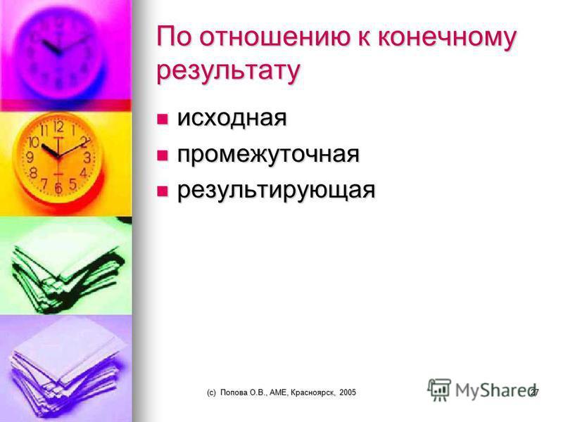 (c) Попова О.В., AME, Красноярск, 200526 По отношению к окружающей среде входная входная выходная выходная внутренняя внутренняя