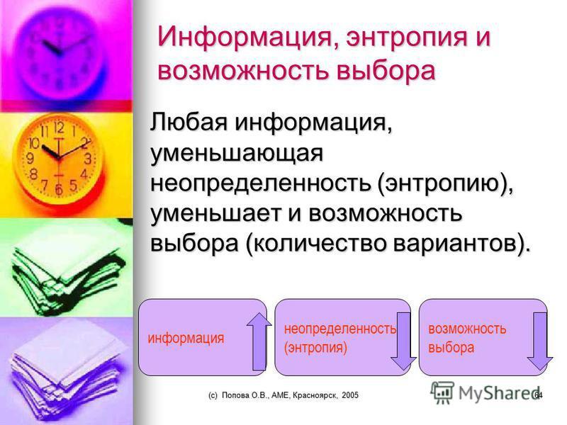 (c) Попова О.В., AME, Красноярск, 200563 Информация есть снятая неразличимость Р. Эшби осуществил переход от толкования информации как «снятой неопределенности» к «снятой неразличимости». Он считал, что информация есть там, где имеется разнообразие,
