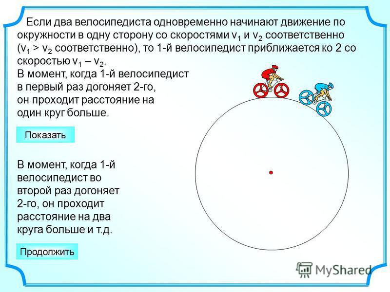 Если два велосипедиста одновременно начинают движение по окружности в одну сторону со скоростями v 1 и v 2 соответственно (v 1 > v 2 соответственно), то 1-й велосипедист приближается ко 2 со скоростью v 1 – v 2. В момент, когда 1-й велосипедист в пер