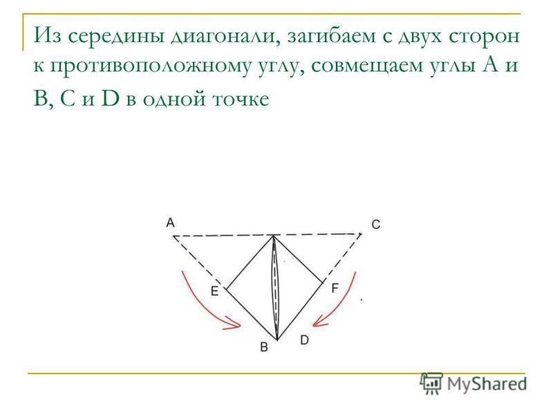 Из середины диагонали, загибаем с двух сторон к противоположному углу, совмещаем углы А и В, C и D в одной точке
