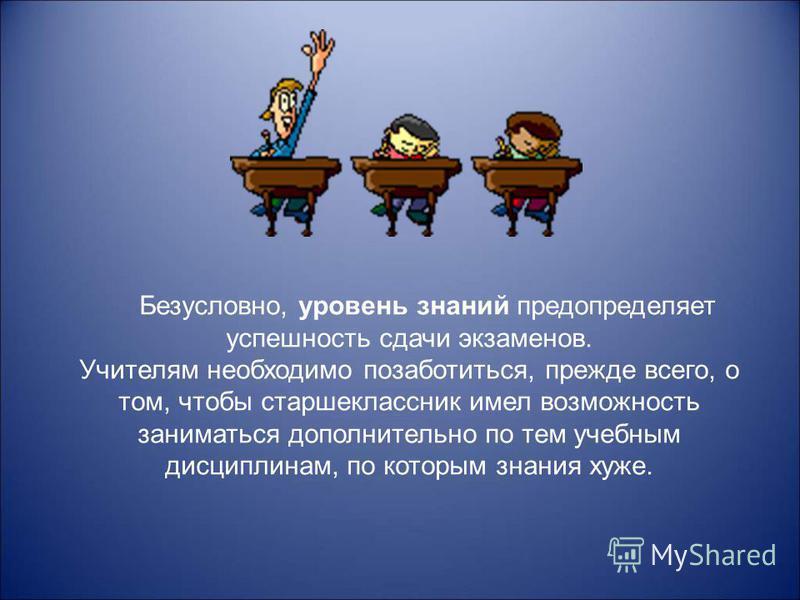На успешность сдачи любых экзаменов влияют три фактора: - познавательный (интеллектуальный) - уровень знаний; - мотивационный - нацеленность на выполнение учебных задач и возможных трудностей; - эмоциональный - способность выдержать напряженный экзам