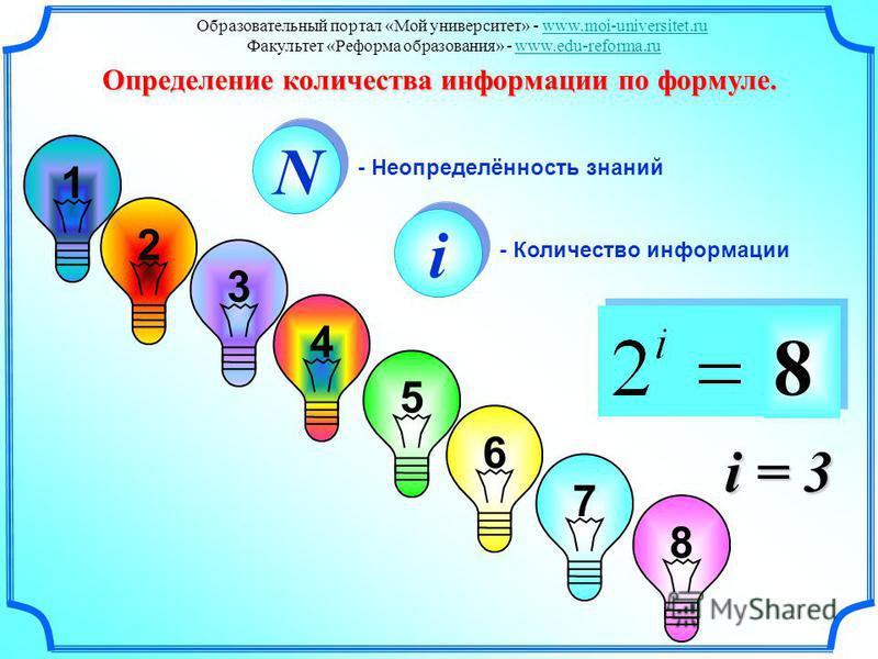 3 1 2 4 5 6 7 8 N N i i - Количество информации - Неопределённость знаний 8 i = 3 Определение количества информации по формуле. Образовательный портал «Мой университет» - www.moi-universitet.ruwww.moi-universitet.ru Факультет «Реформа образования» -