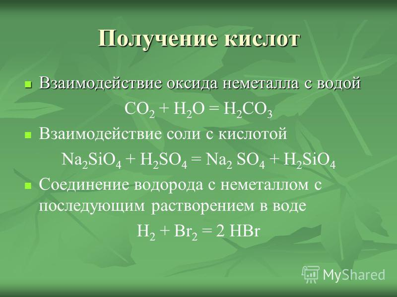 Получение кислот Взаимодействие оксида неметалла с водой Взаимодействие оксида неметалла с водой CO 2 + H 2 O = H 2 CO 3 Взаимодействие соли с кислотой Na 2 SiO 4 + H 2 SO 4 = Na 2 SO 4 + H 2 SiO 4 Соединение водорода с неметаллом с последующим раств