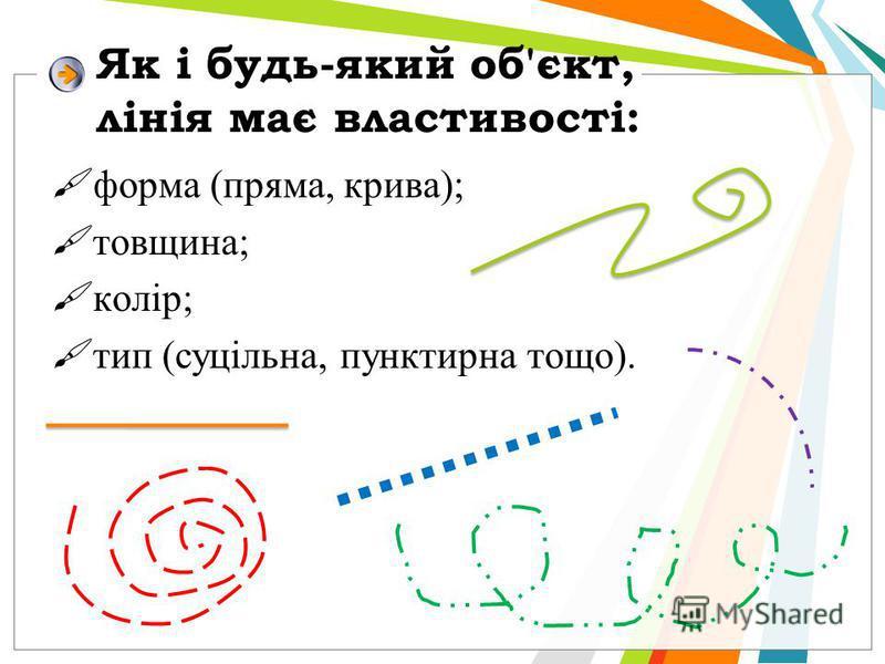 Як і будь-який об'єкт, лінія має властивості: форма (пряма, крива); товщина; колір; тип (суцільна, пунктирна тощо).