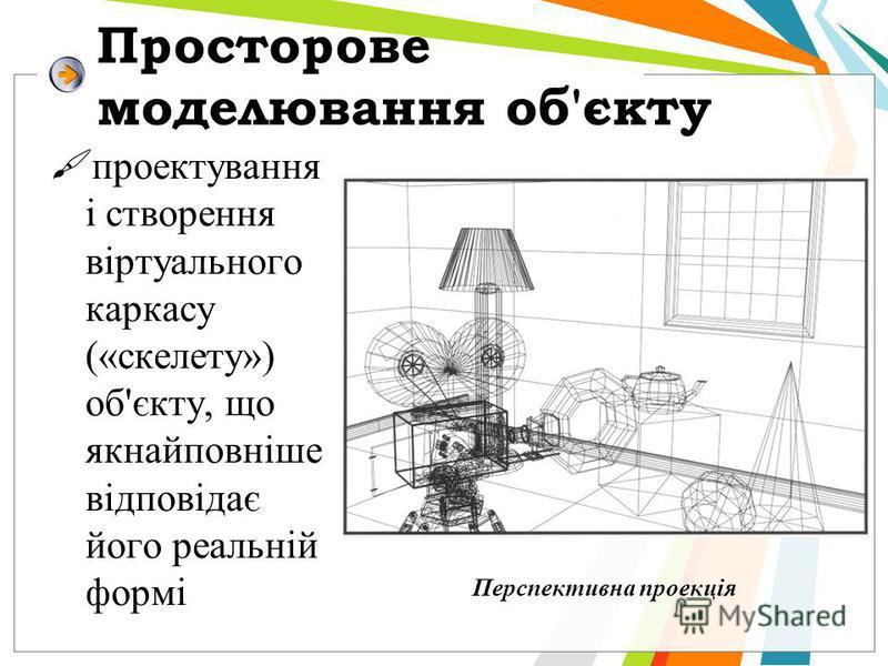 Просторове моделювання об'єкту проектування і створення віртуального каркасу («скелету») об'єкту, що якнайповніше відповідає його реальній формі Перспективна проекція