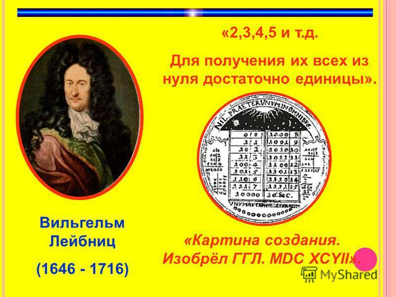 Вильгельм Лейбниц (1646 - 1716) «2,3,4,5 и т.д. Для получения их всех из нуля достаточно единицы». «Картина создания. Изобрёл ГГЛ. МDС XCYII».