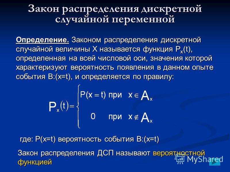 Закон распределения дискретной случайной переменной Определение. Законом распределения дискретной случайной величины Х называется функция P x (t), определенная на всей числовой оси, значения которой характеризуют вероятность появления в данном опыте